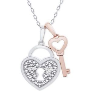 NWT Diamond Heart Lock & Key Pendant Necklace